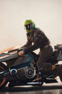 1280x2120 Iridescent Cyberpunk 2077 Biker 4k