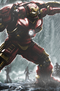 Iron Hulkbuster And Hulk Fight Artwork