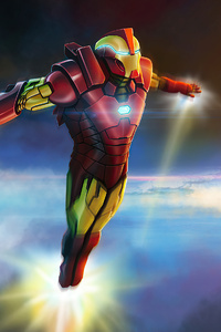 480x854 Iron Man Above Earth