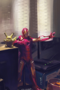 800x1280 Iron Man And Pikachu