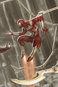 320x480 Iron Man And Red Scarlet Spiderman 4k