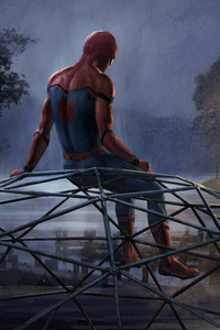 320x568 Iron Man And Spiderman 5k Artwork