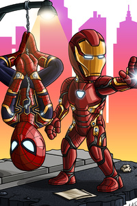 640x1136 Iron Man And Spiderman Chibi