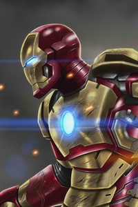 640x960 Iron Man At War 10k Artwork