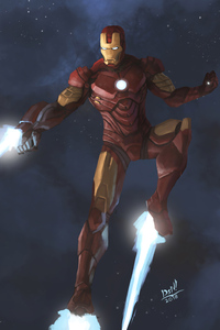 320x480 Iron Man Blaster 4k Artwork