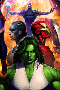 320x568 Iron Man Captain America She Hulk 4k