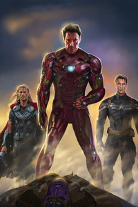 1125x2436 Iron Man Captain America Thor Fan Art