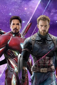 1125x2436 Iron Man Captain America Thor In Avengers Infinity War Poster