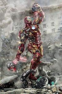 320x568 Iron Man Chop Off Ultron Head