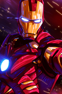 720x1280 Iron Man Colorful Glowing Art
