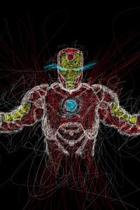480x800 Iron Man Drawing Art