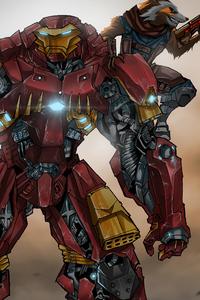 1280x2120 Iron Man In Hulkbuster Armor And Rocket Artwork