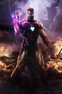 640x960 Iron Man Infinity Gauntlet 4k