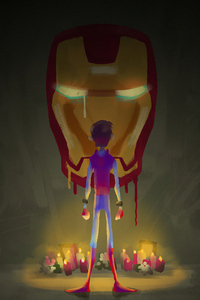1080x2280 Iron Man Little Spidey Art