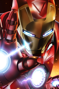 1280x2120 Iron Man Mask Closeup Artwork