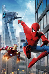 Iron Man Spiderman Homecoming 4k