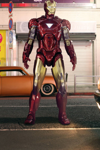 Iron Man Standing On Street 4k