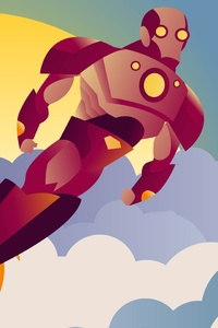 Iron Man Sunset Clouds Minimalist