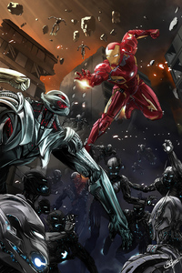 1242x2688 Iron Man Ultron Illustration 4k