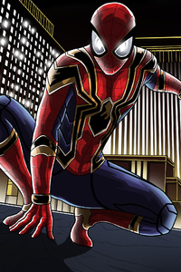 Iron Spider Suit In Avengers Infinity War Artwork
