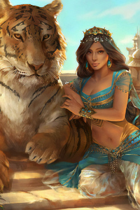 1080x2160 Jasmine Aladdin With Lion