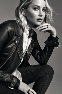720x1280 Jennifer Lawrence Monochrome 4k