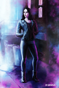 1242x2688 Jessica Jones In Defenders Artwork