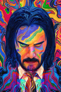 1242x2688 John Wick 3 Colorful Art