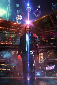 320x480 John Wick As Cyberpunk