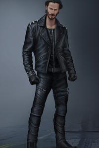 John Wick Wearing Black Leather Jacket