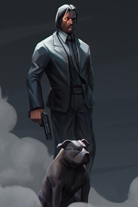 1080x1920 John Wick With Dog 4k