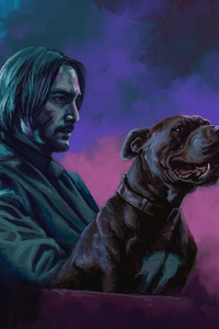 320x480 John Wick With Dog Art