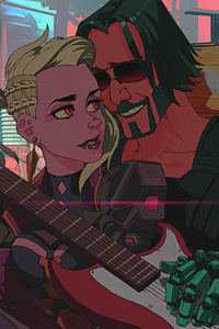 540x960 Johnny Silverhand In Love Playing Guitar Cyberpunk 2077