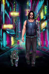 360x640 Johnny Silverhand With His Cyber Dog 5k