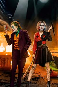 1125x2436 Joker And Harley At Crime Scene 5k