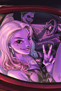 Joker And Harley Quinn In The Car Artwork 8k