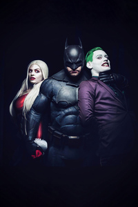 750x1334 Joker Batman And Harley Quinn Cosplay 4k
