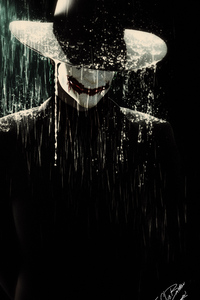 Joker In Rain Wearing Hat