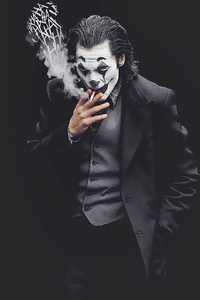 1440x2960 Joker Smoking Monochrome 4k