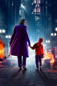 1440x2560 Joker Walking With Kid