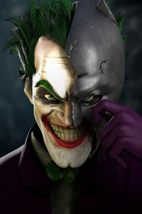 Joker Wearing Half Batman Mask