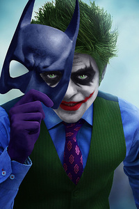 Joker With Batman Mask Off