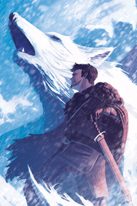 320x480 Jon Snow And His Wolf