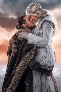 320x480 Jon Snow And Khalessi Love Cosplay 4k
