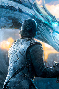 320x480 Jon Snow Game Of Thrones Dragon