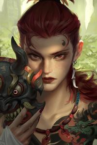 1080x2280 Jungle Warrior Mask Girl 4k