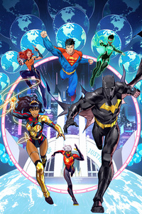 320x568 Justice League Heroes Comic Book Art 4k