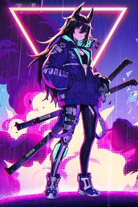 Katana Anime Girl Neon 4k