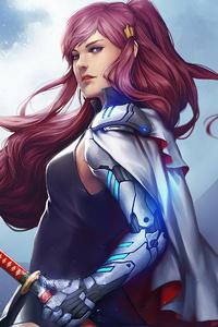 640x960 Katana Samurai Girl 4k