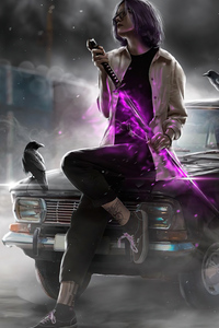 640x960 Katana With Purple Sword